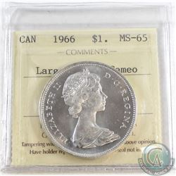 1966 Canada LgeBds Silver Dollar ICCS Certified MS-65 ; Cameo