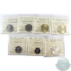 Estate Lot of 7x Canadian ICCS Certified Coins. This lot includes: 2017 Canada 150th 5c MS-65, 2017