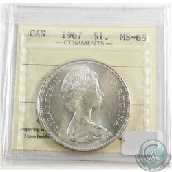 1967 Canada Silver Dollar ICCS Certified MS-65