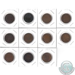 Estate Lot of 12x Canada Large Cents Dated between 1881-1920. This lot includes: 1881H, 1894, 1901,