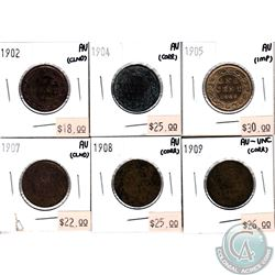 1902, 1904, 1905, 1907, 1908 & 1909 Canada Large Cents in AU or Better condition (coins have Various