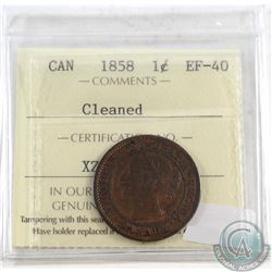 1858 Canada Large 1-cent ICCS Certified EF-40 (Lightly Cleaned)