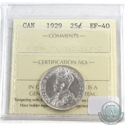 1929 Canada 25-cent ICCS Certified EF-40