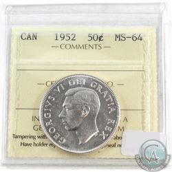 1952 Canada 50-cent ICCS Certified MS-64