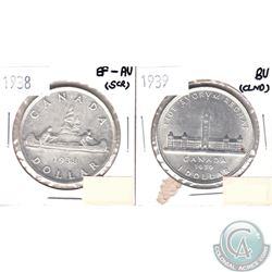 1938 Silver Dollar EF-AU (light scratches) & 1939 Silver Dollar Brilliant Uncirculated (Cleaned). 2p