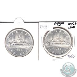 1963 Silver Dollar & 1966 Rotated Die (337.5 degrees) Silver Dollar UNC+ (Scratched) 2pcs