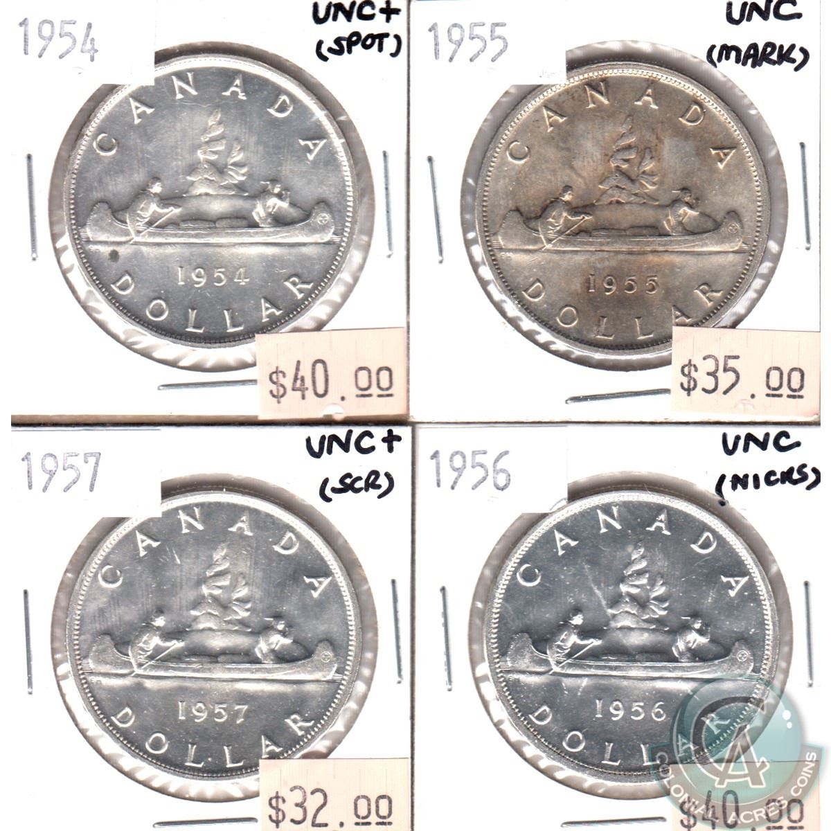 1954, 1955, 1956 & 1957 Silver Dollar UNC (coins have Various minor ...