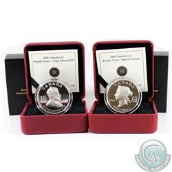 2008 Canada $15 Vignettes of Royalty: King Edward VII & Queen Victoria Sterling Silver Coins. 2pcs.
