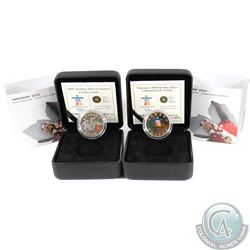 2008 Canada Sterling Silver Lucky Loonie & 2010 Canada Sterling Silver Lucky Loonie. 2pcs