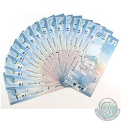 20 x 2006 $5.00 Notes with Jenkins-Carney Signatures and Consecutive Serial Numbers all in UNC. 20pc