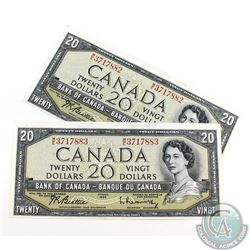 2 x 1954 $20.00 Notes with Beattie-Rasminsky Signatures, M/E Prefix and Consecutive Serial Numbers b
