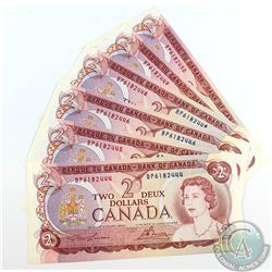 6 x 1974 $2.00 Notes with Lawson-Bouey Signatures, BP Prefix, Modified Tint and Consecutive Serial N