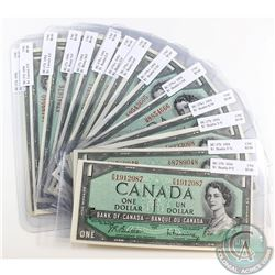 15 x 1954 $1 Notes with 15 Different Prefixes all in UNC. 15pcs.