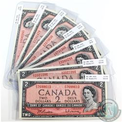 7 x 1954 $2.00 Notes with 7 Different Prefixes all in UNC or better. 7pcs.