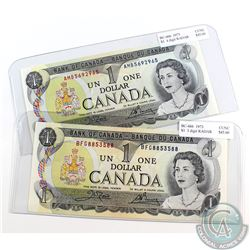 Pair of 1973 $1.00 RADAR Notes both in CUNC Condition. Serial Numbers BFG8853588 and AMB5692965. 2pc