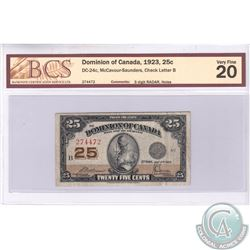 1923 25c RADAR Note, BCS Certified VF-20 with holes.