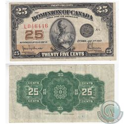 1923 25c Note with Hyndman-Saunders Signatures in VF. The note has some pinholes to the right side.