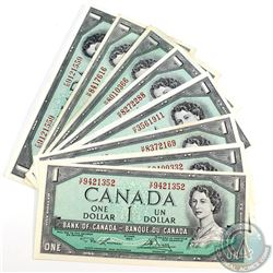 8 x 1954 $1.00 Notes all with Changeover or Short Run Prefixes. 8pcs.