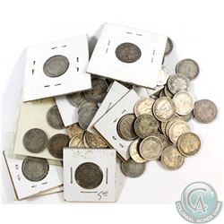 Estate Lot of Canada George V & George VI Silver 10-cent Collection. 93pcs.