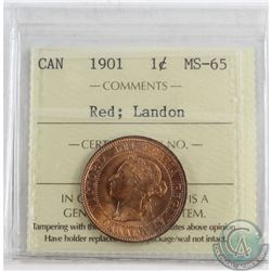 1901 Canada 1-cent ICCS Certified MS-65 Red; Landon