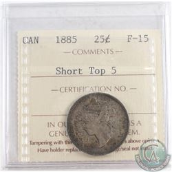 1885 Canada Short Top 5 25-cent ICCS Certified F-15
