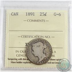 1891 Canada 25-cent ICCS Certified G-6