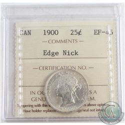 1900 Canada 25-cent ICCS Certified EF-45 edge Nick