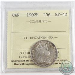 1902H Canada 25-cent ICCS Certified EF-40