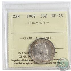1902 Canada 25-cent ICCS Certified EF-45