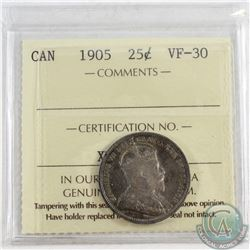 1905 Canada 25-cent ICCS Certified VF-30