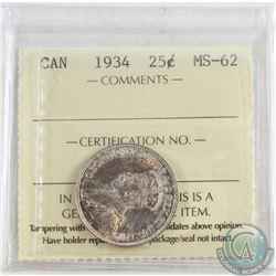1934 Canada 25-cent ICCS Certified MS-62