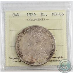 1936 Canada Dollar ICCS Certified MS-65