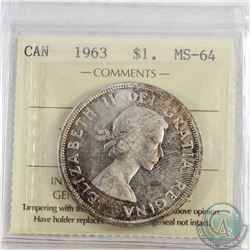 1963 Canada Dollar ICCS Certified MS-64