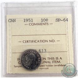 1951 Canada 10-cent ICCS Certified SP-64
