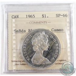 1965 Canada Dollar ICCS Certified SP-66 SmBds Blt 5; Heavy Cameo