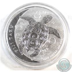 2012 Fiji 5oz Fine Silver Hawksbill Turtle. Please note the capsule is scuffed (TAX Exempt)