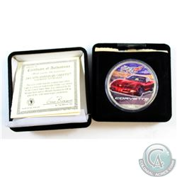 2003 50th Anniversary Corvette, Colourized 1oz Fine Silver Eagle. Coin comes encapsulated in the Ori