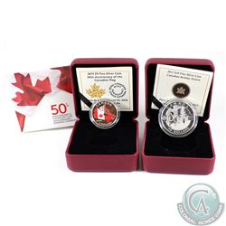 2013 Canada $10 Holiday Season Fine Silver Coin & 2015 $3 50th Anniversary of the Flag Fine Silver C