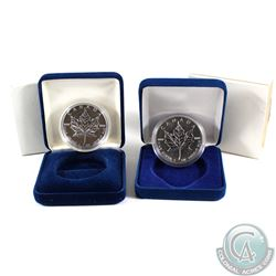 1994 & 2003 Canada $5 Fine Silver Maple Leaf (Tax Exempt) Coins come encapsulated in issued blue Cla