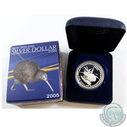 RARE!!! 2005 New Zealand 1oz Silver Proof Rowi Kiwi Dollar (Tax Exempt) *0423 of 5000* coin comes wi