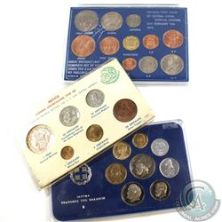 3x World Commemorative Sets: 1965 Mexican 6-coin Set with Silver one Pesos (holder is Worn and scuff