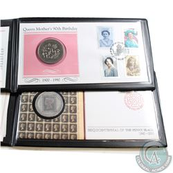 1990 Isle of Man Sesquicentennial of Penny Black & 1990 The Queen Mothers 90th Birthday Coin First D