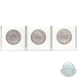 Set of 3x Uncirculated British Colonial Coinage 1835-1901 Silver Rupees of India and the East India