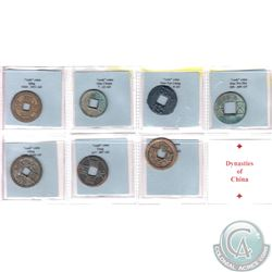 Dynasties of China 7-piece Cash Coin Collection. Dynasties includes: Han Pan Liang 206 BC-8AD, Huo C