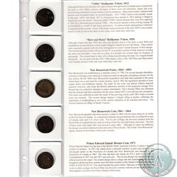 5x 1812-1871 Bank of Canada Half & One Penny Tokens with information display Card. 5pcs