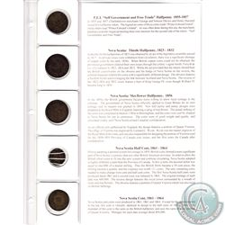 5x Nova Scotia and Prince Edward Island Half Penny Tokens with 1861-1864 1-cent and information disp