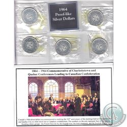 5x 1964 Canada Proof-Like Silver Dollar Commemorating the Charlottetown and Quebec Conferences leadi