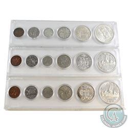 1957, 1958 & 1959 Canada 6-coin Year Set in hard plastic holder. 3pcs