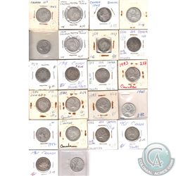 Estate Lot of 22x Canada silver 25-cents Dated 1903-1961. 22pcs