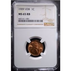 1909 VDB LINCOLN CENT, NGC MS-65 RB
